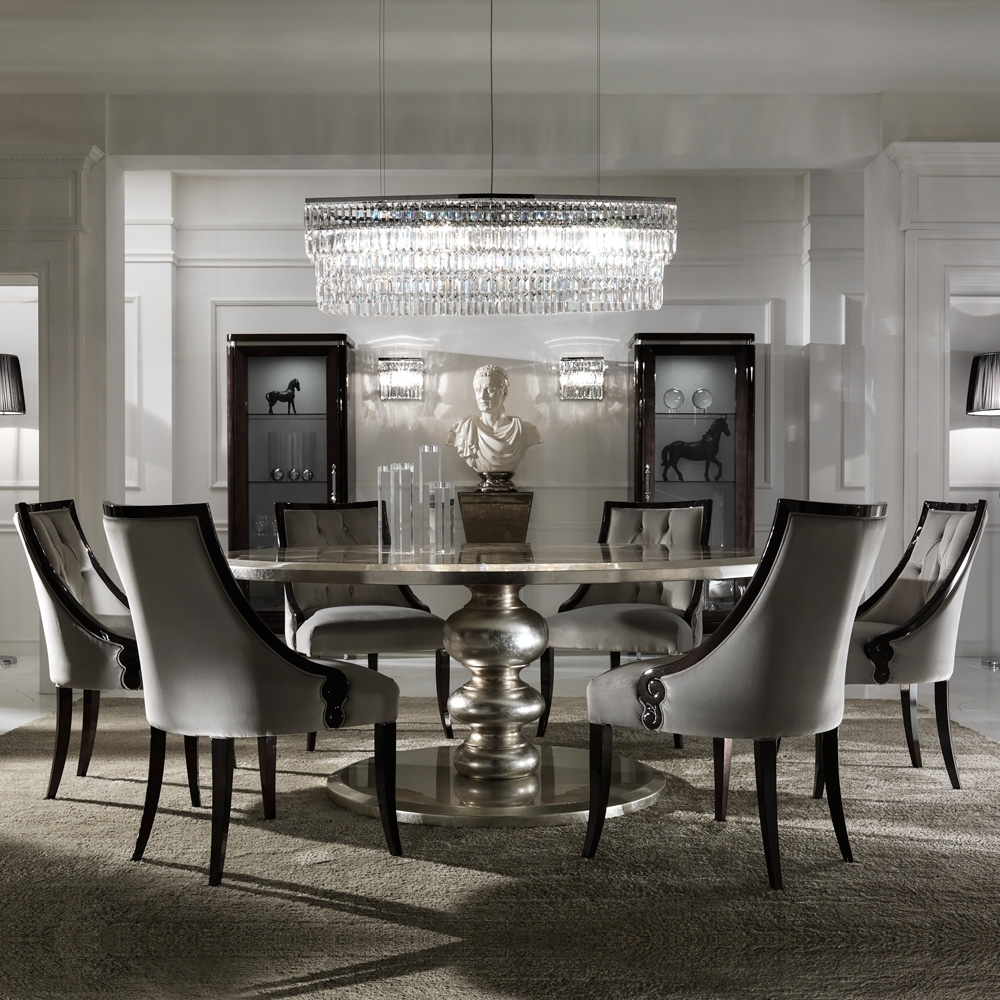 Large Round Italian Champagne Leaf Dining Table And Chairs Set Inside Well Liked Large White Round Dining Tables (View 9 of 25)