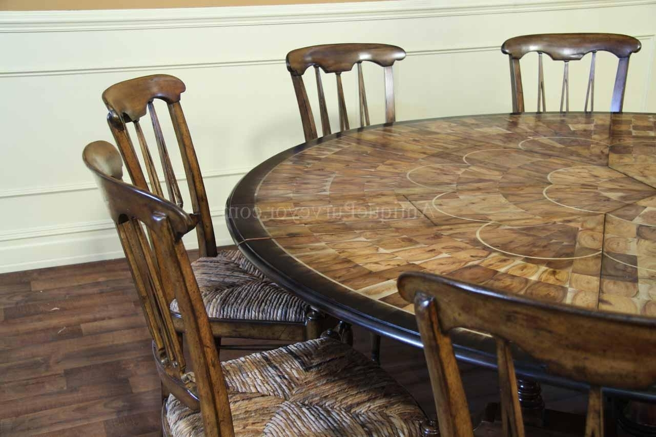 Large Round Walnut Dining Room Table With Leaves Seats 6, 6 Person Within Well Known 6 Person Round Dining Tables (View 15 of 25)