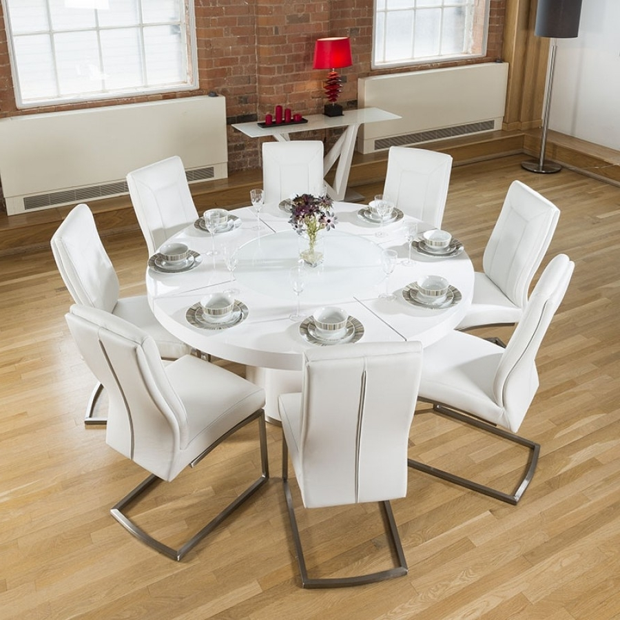 Large Round White Gloss Dining Table Lazy Susan, 8 White Chairs 4110 Within Famous Large White Round Dining Tables (View 11 of 25)