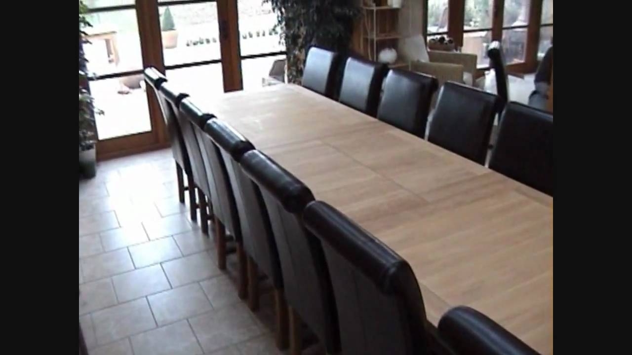 Large Tallinn Extending Oak Dining Table 12 14 16 Seater – Youtube Within Latest Extending Dining Tables With 14 Seats (View 17 of 25)