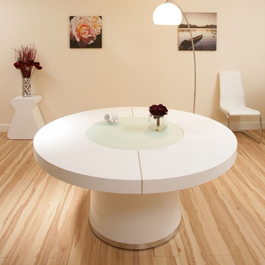 Large White Round Dining Tables With Regard To Most Recently Released Large Round White Gloss Dining Table Glass Lazy Susan Led Lighting (View 16 of 25)