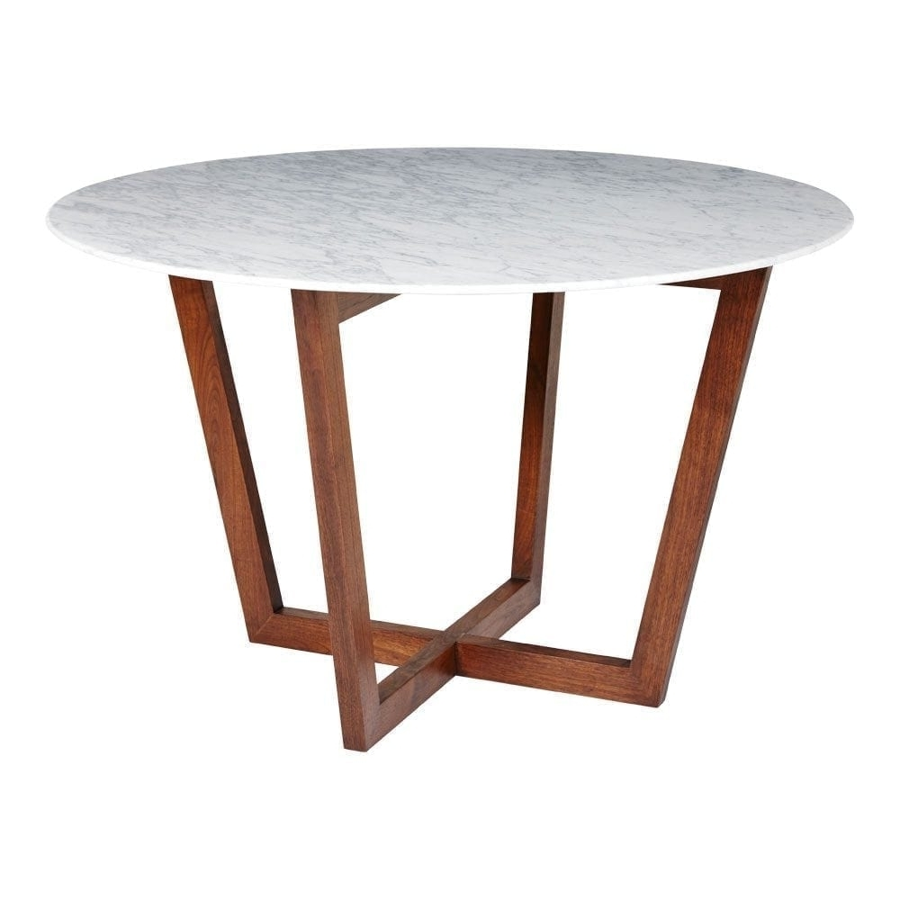 Lassen Round Dining Tables Intended For Well Known Modern Designer Round Italian Marble Dining Table – Walnut Wooden Base (View 8 of 25)