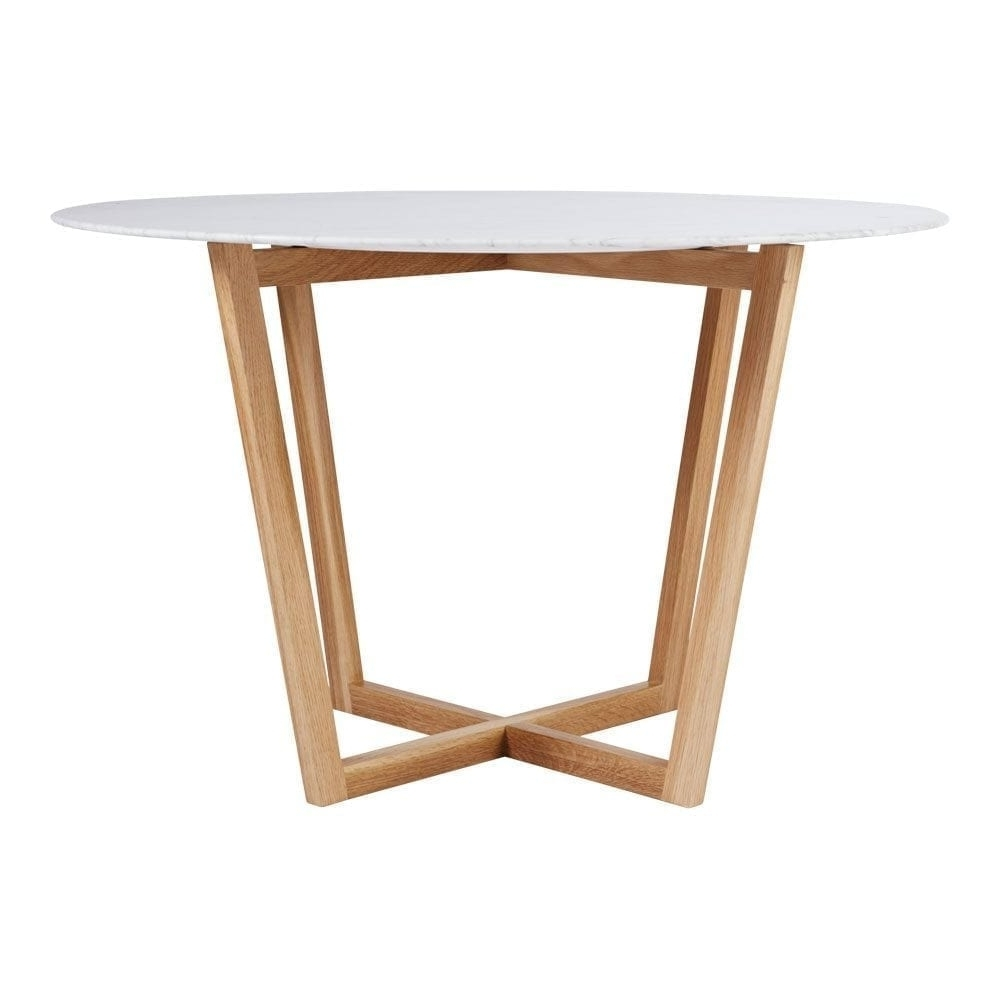 Lassen Round Dining Tables Within Well Liked Modern Designer Round Italian Marble Dining Table – Oak Wooden Base (View 11 of 25)