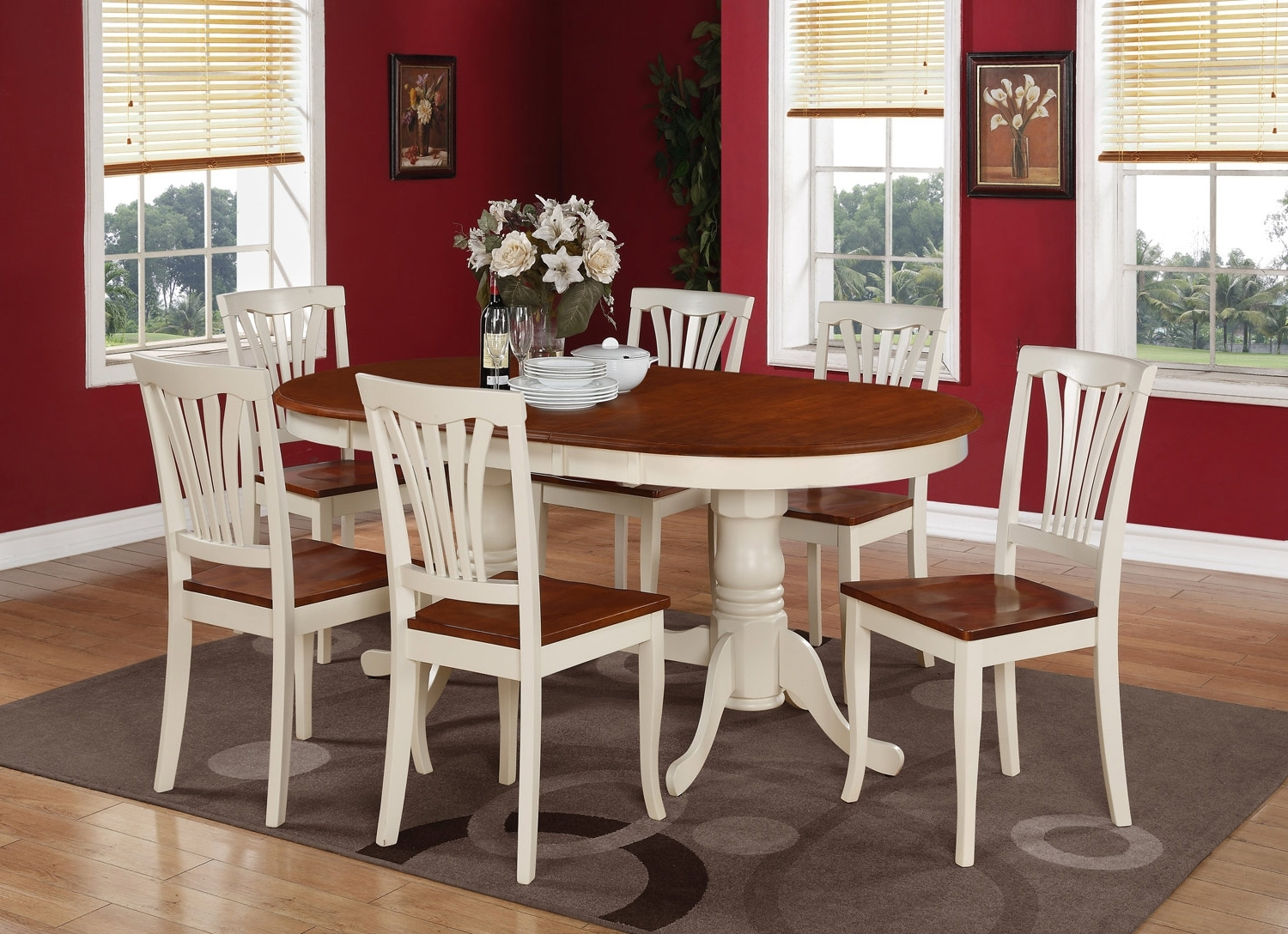 Latest 9Pc Oval Dining Room Table 8 Chairs Self Storage Leaf Buttermilk Finish In Dining Tables 8 Chairs Set (View 14 of 25)
