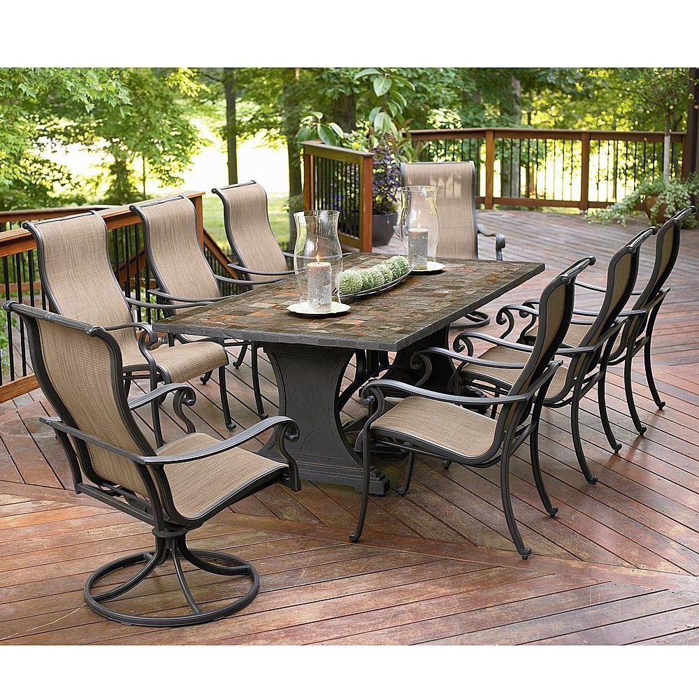 Latest Agio Panorama 9 Piece Patio Set: Get Top Entertainment Ideas At With Craftsman 9 Piece Extension Dining Sets (View 2 of 25)