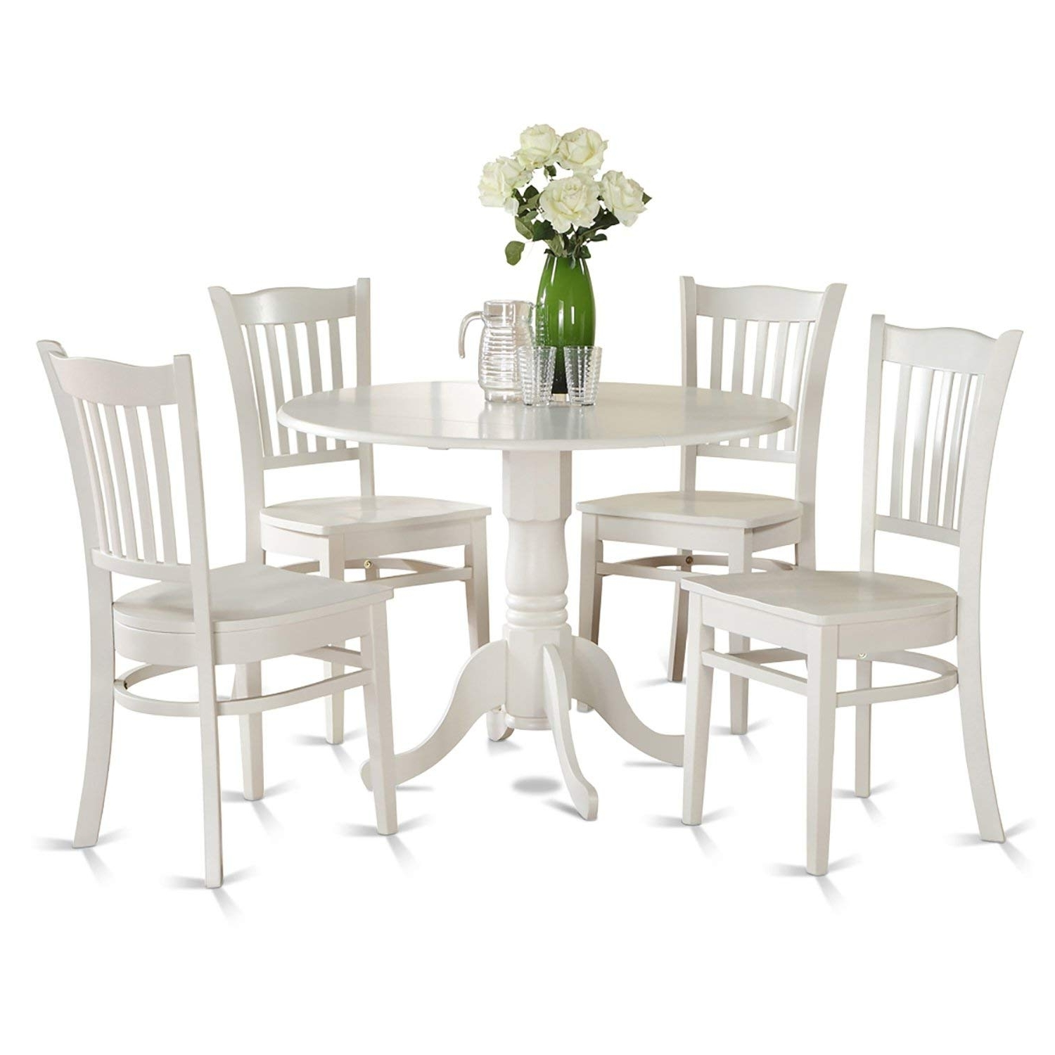 Latest Amazon – East West Furniture Dlgr5 Whi W 5 Piece Kitchen Nook With Market 7 Piece Dining Sets With Side Chairs (View 10 of 25)