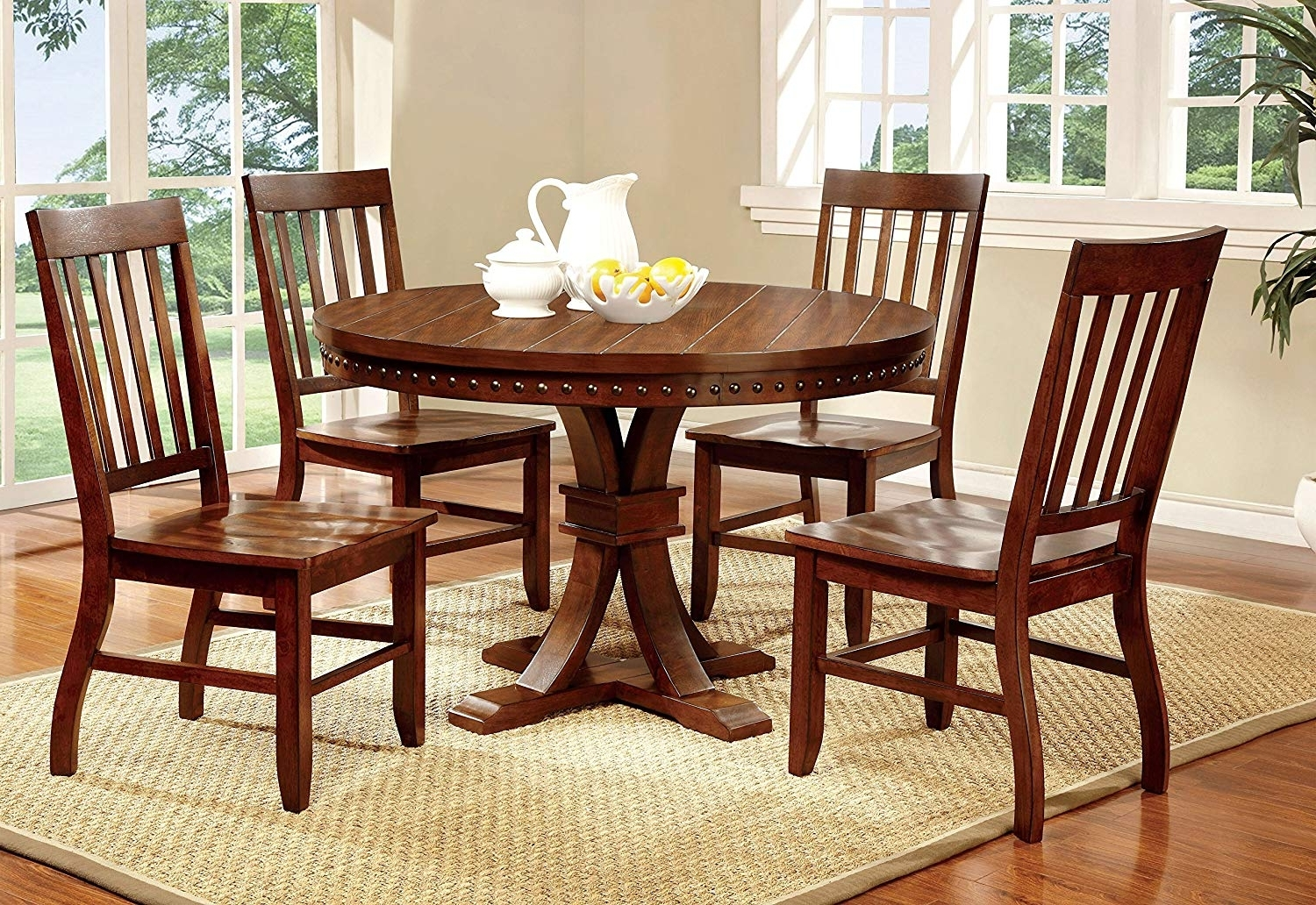 Latest Amazon – Furniture Of America Castile 5 Piece Transitional Round For Dark Brown Wood Dining Tables (View 17 of 25)