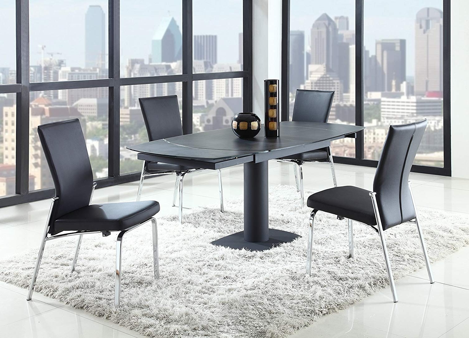 Latest Amazon – Milan Greta Monique Blk 5 Piece Dining Set Side Chair With Chandler 7 Piece Extension Dining Sets With Wood Side Chairs (View 24 of 25)