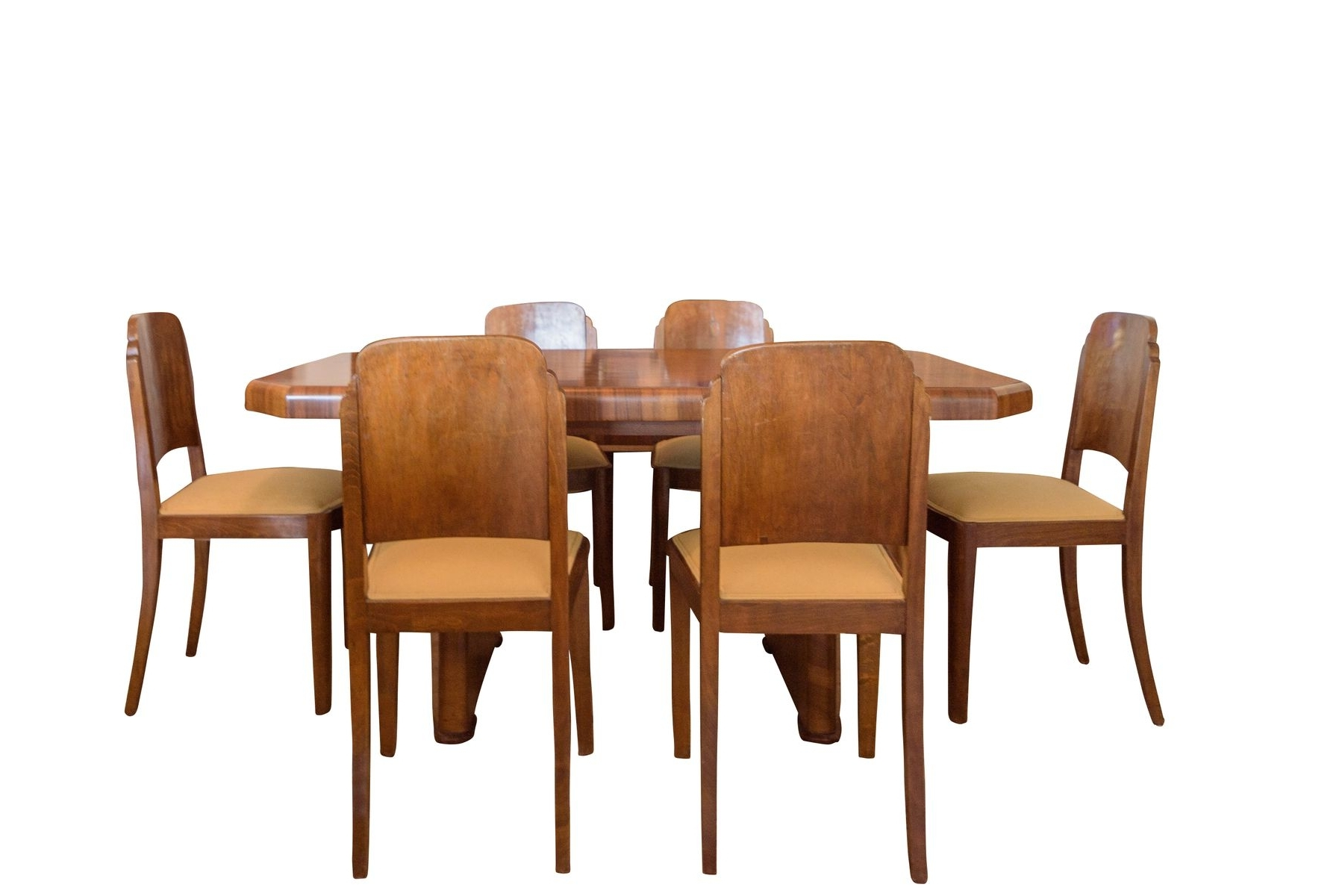 Latest Art Deco Walnut Dining Table & 6 Chairs, 1920S For Sale At Pamono Intended For Walnut Dining Table And 6 Chairs (View 12 of 25)