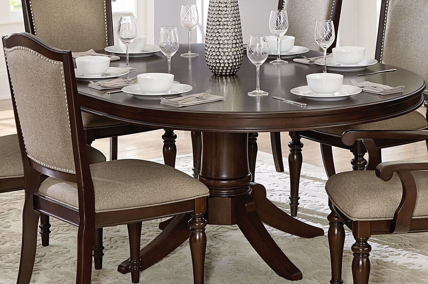 Latest Bale Rustic Grey Dining Tables Pertaining To Homelegance Marston Brown Pedestal Oval Extendable Dining Room Set (View 12 of 25)