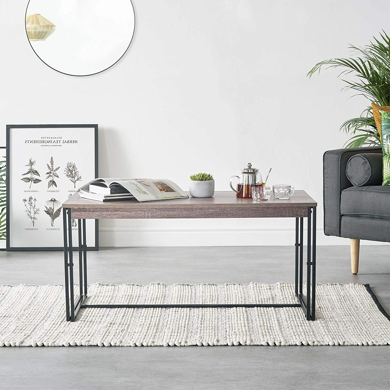 Latest Bale Rustic Grey Dining Tables Throughout Vonhaus Rustic Coffee Table – Modern Industrial Design Wooden Effect (View 14 of 25)