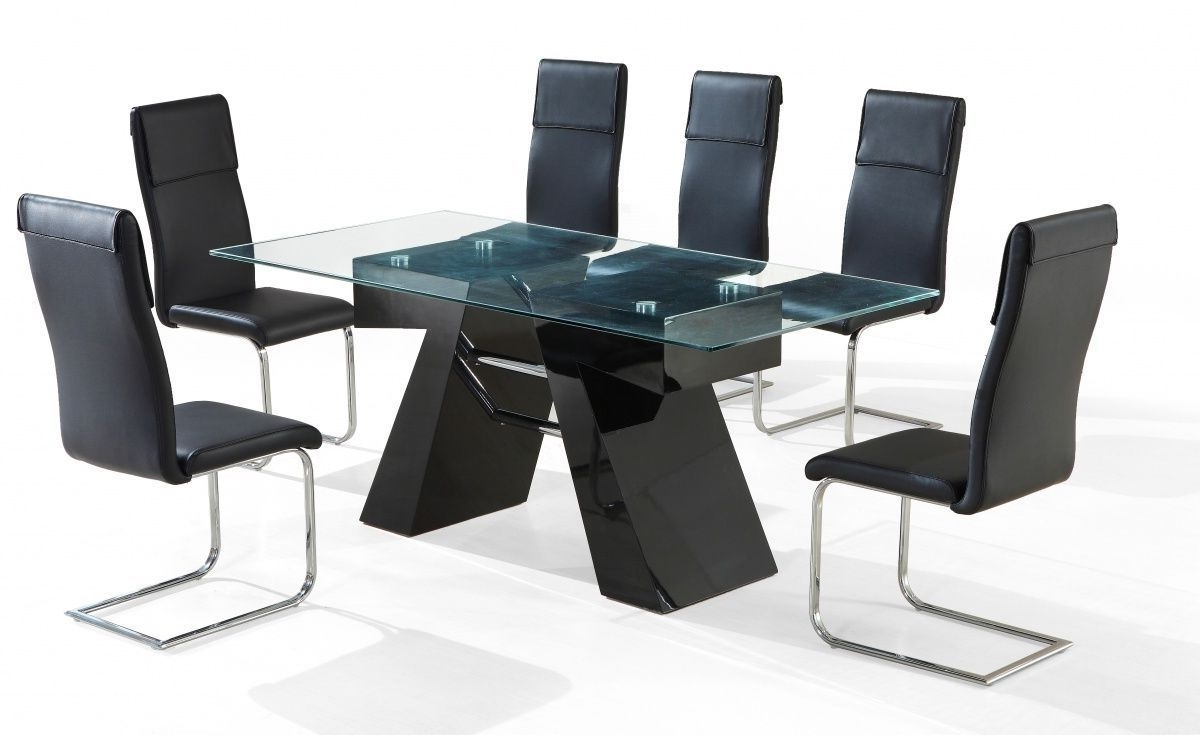 Latest Black Glass Dining Tables 6 Chairs Pertaining To Modern Black High Gloss Clear Glass Dining Table And 6 Chairs (View 22 of 25)