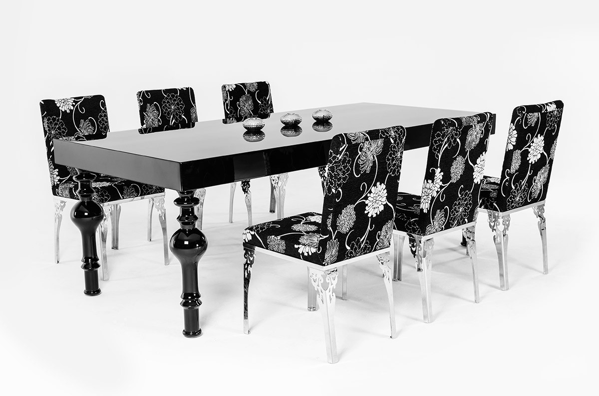 Latest Black Gloss Dining Tables Within Modrest Nayri – Transitional Black High Gloss Dining Table (View 15 of 25)
