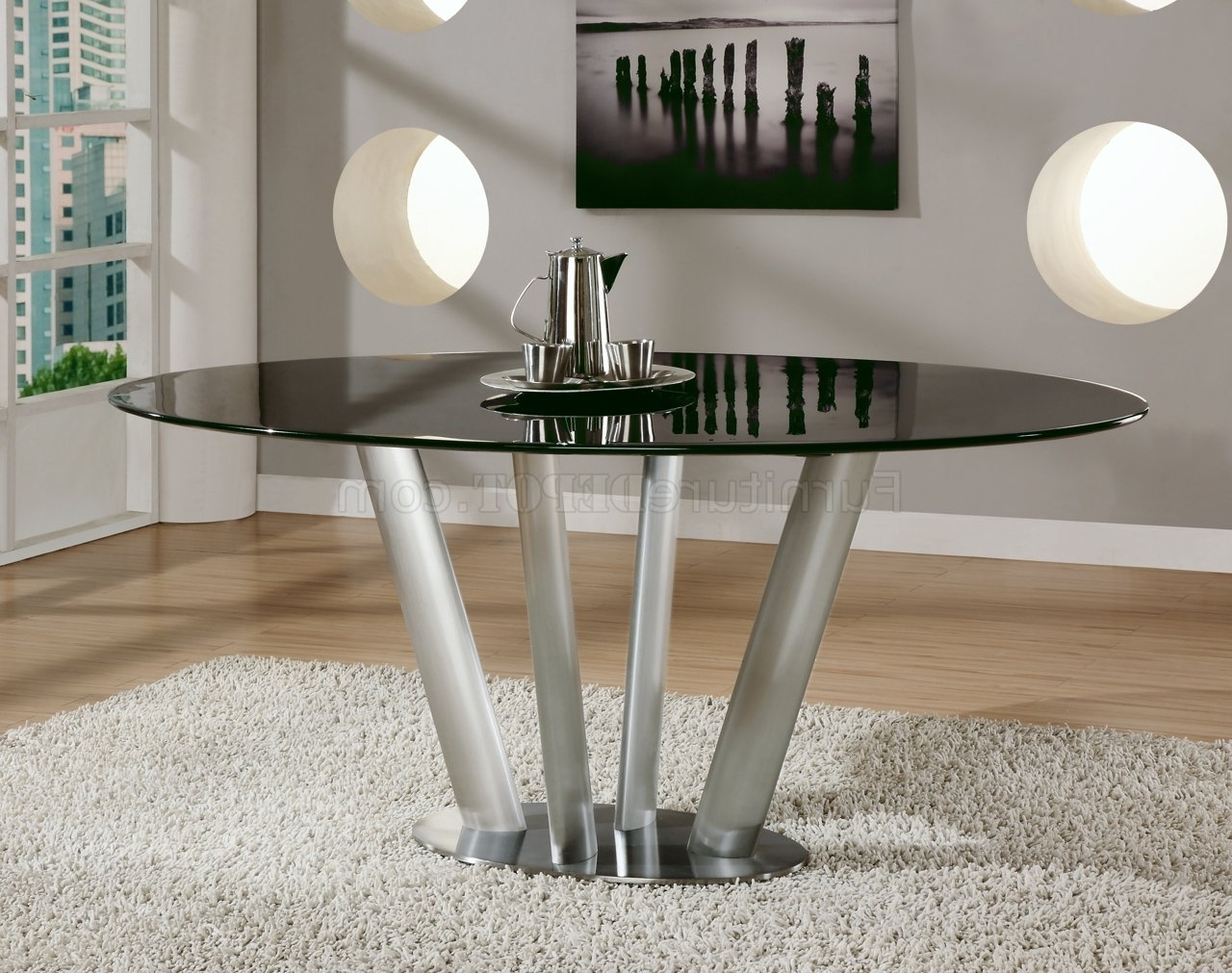 Latest Black Marble Top Modern Dining Table W/brushed Steel Base Inside Brushed Metal Dining Tables (View 2 of 25)