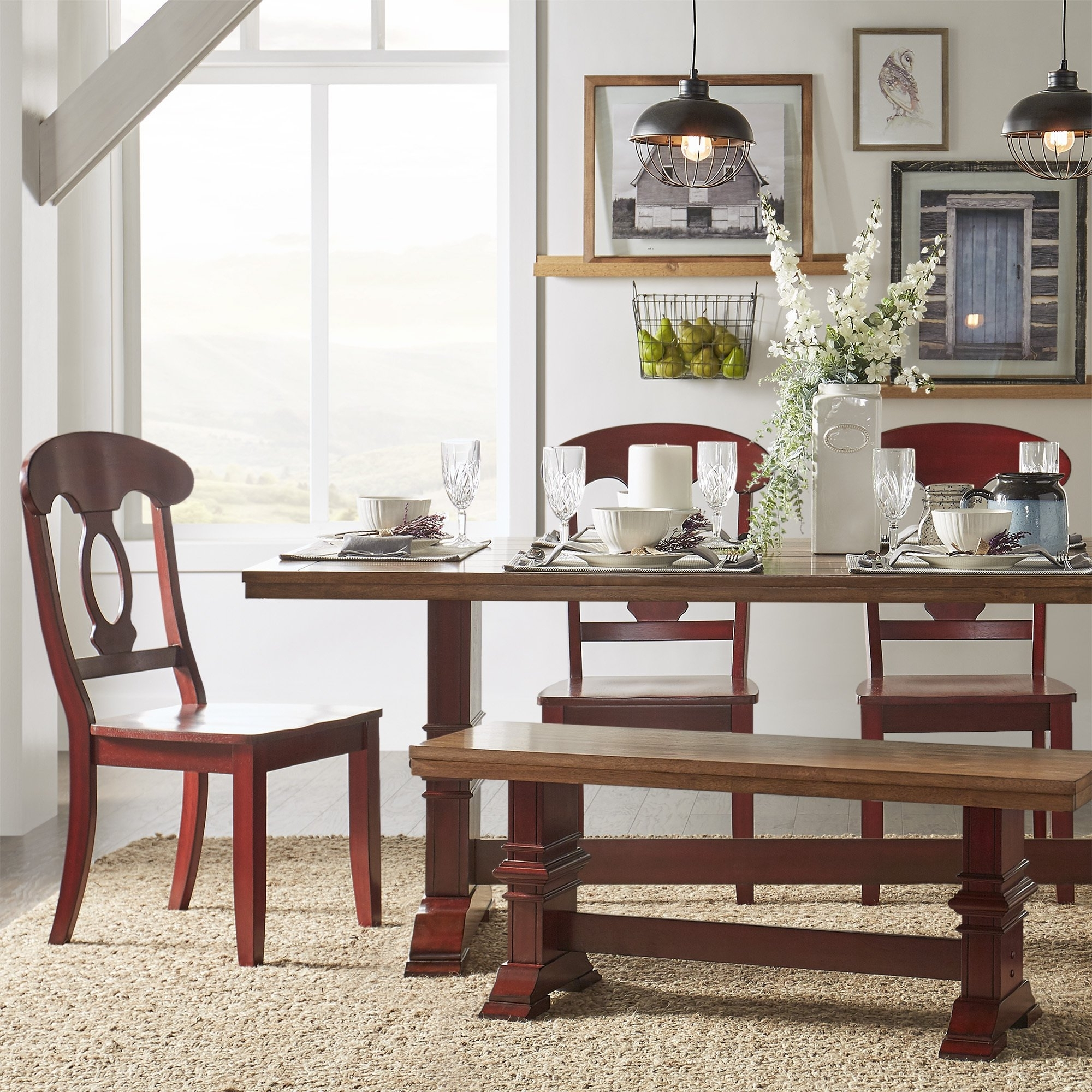 Latest Caden 6 Piece Rectangle Dining Sets Intended For Eleanor Berry Red Farmhouse Trestle Base Napoleon Back 6 Piece (View 10 of 25)