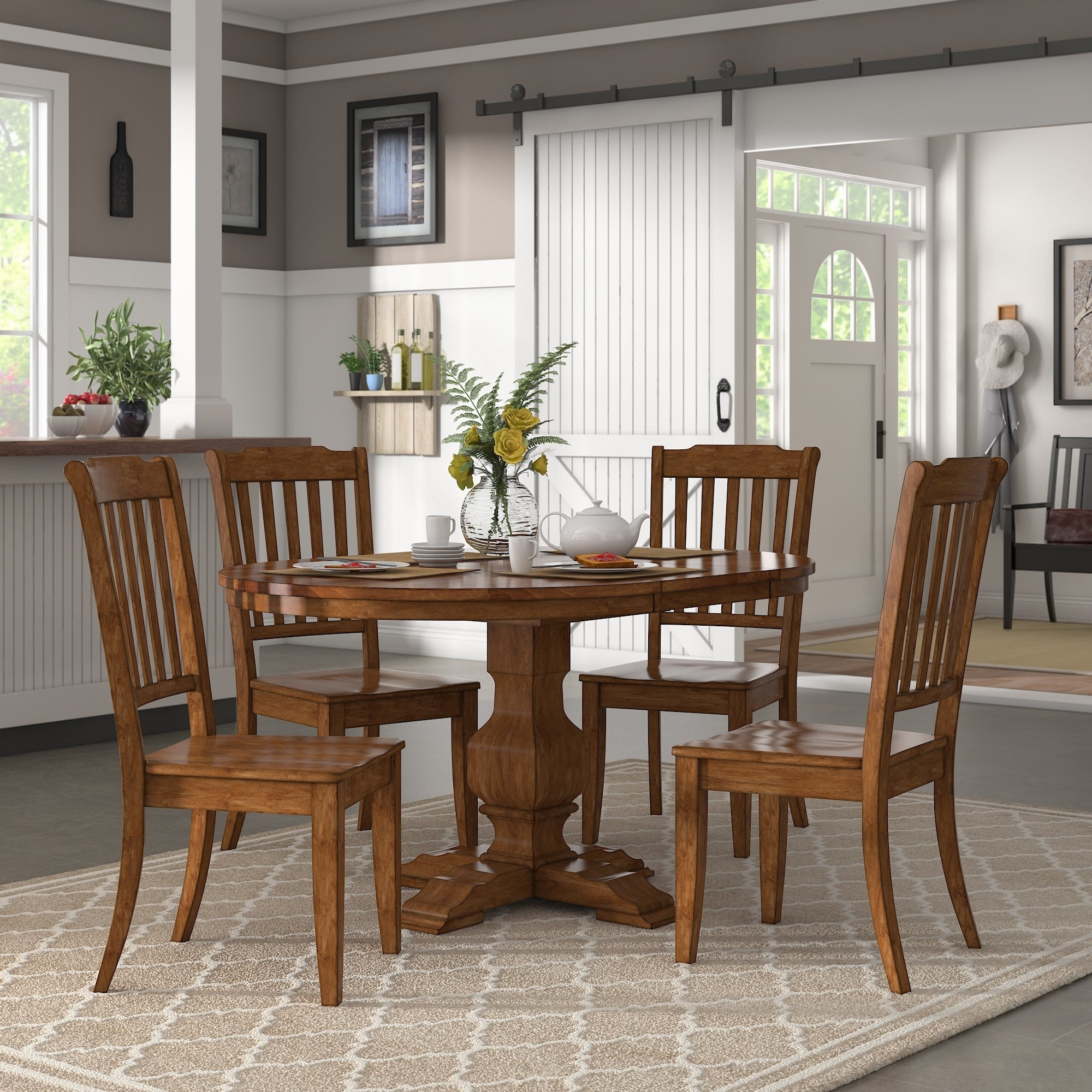Latest Caden 6 Piece Rectangle Dining Sets Pertaining To Eleanor Oak Extending Oval Wood Table Slat Back 5 Piece Dining Set (View 11 of 25)