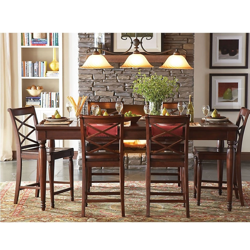 Latest Cambridge Dining Tables In Cambridge Wood Rectangle Counter Height Dining Table In Brown Cherry (View 18 of 25)