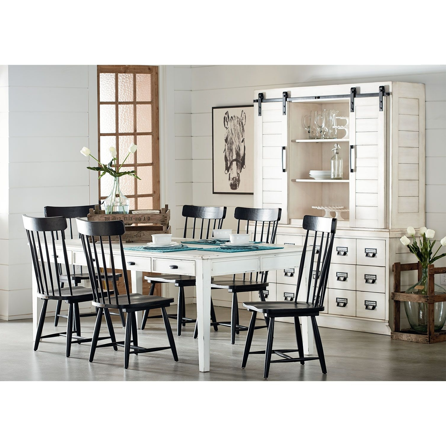 Latest Candice Ii 7 Piece Extension Rectangular Dining Sets With Slat Back Side Chairs In Farmhouse Keeping Table, Six Farmhouse Spindle Back Chairs And Two (View 7 of 25)