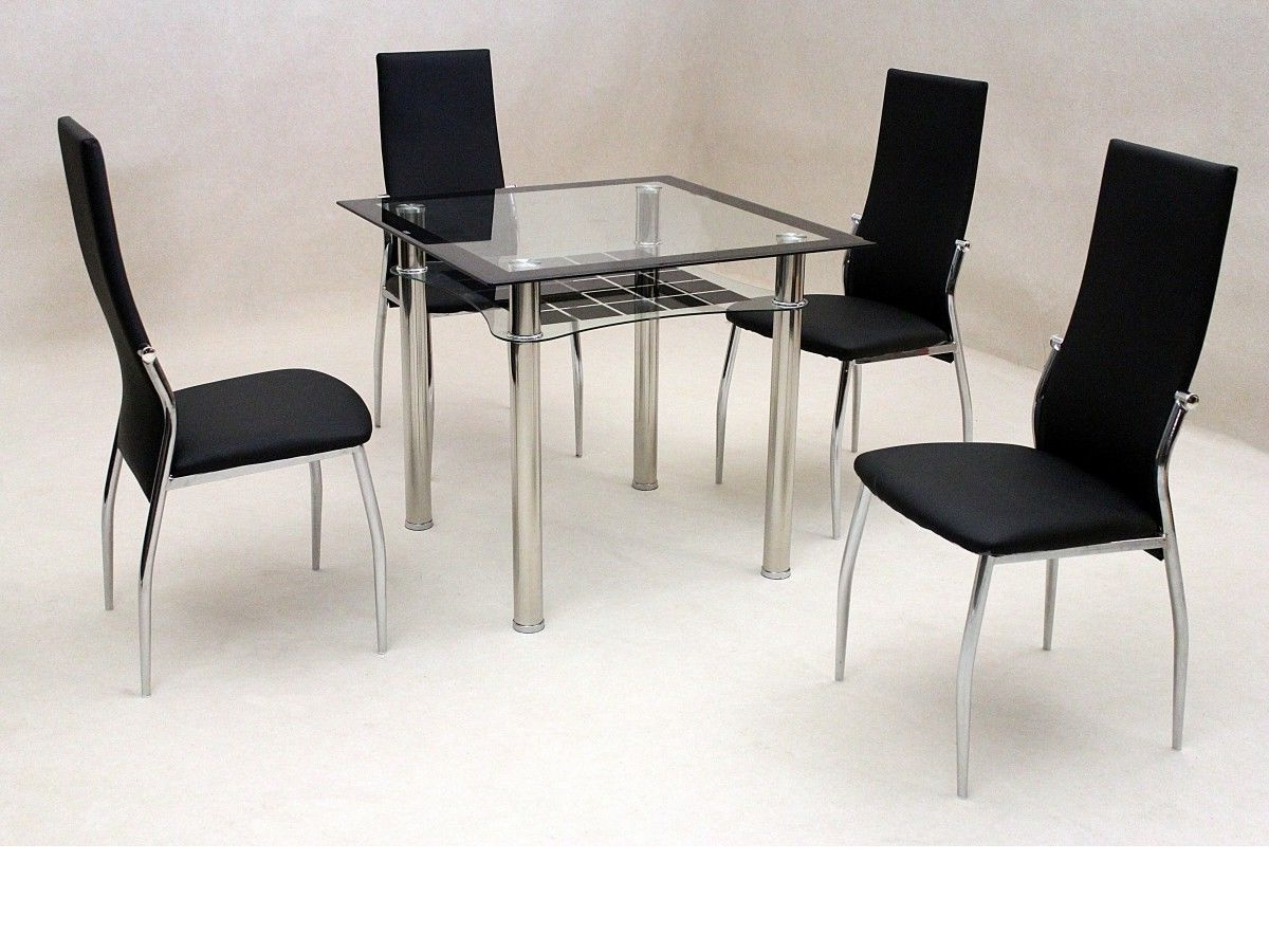 Latest Cheap Glass Dining Tables And 4 Chairs With Regard To Small Square Clear & Black Glass Dining Table And 4 Chairs (View 9 of 25)