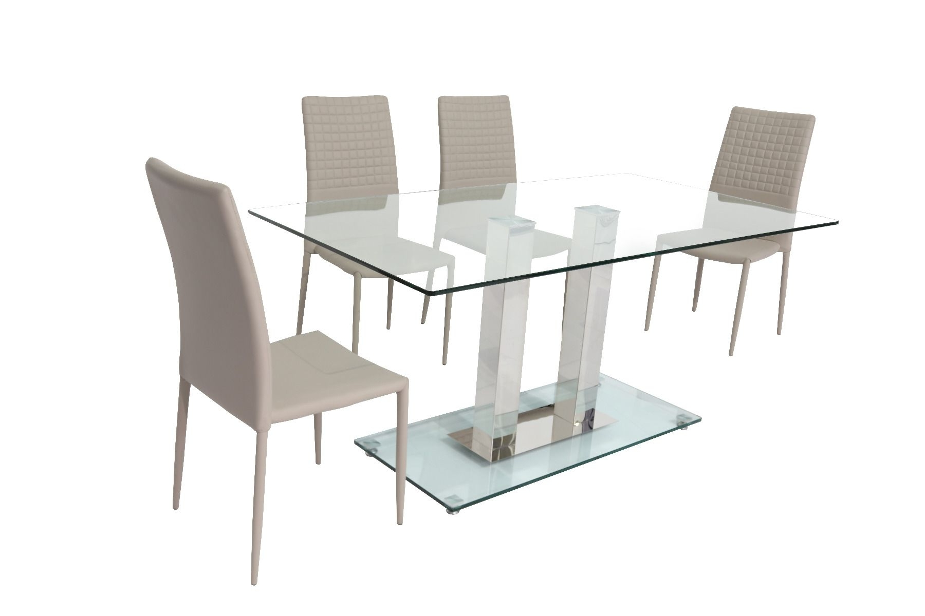 Latest Clear Glass Dining Tables And Chairs Intended For Holly Clear Glass Dining Table (160Cm) With Cuba Dining Chair (View 15 of 25)