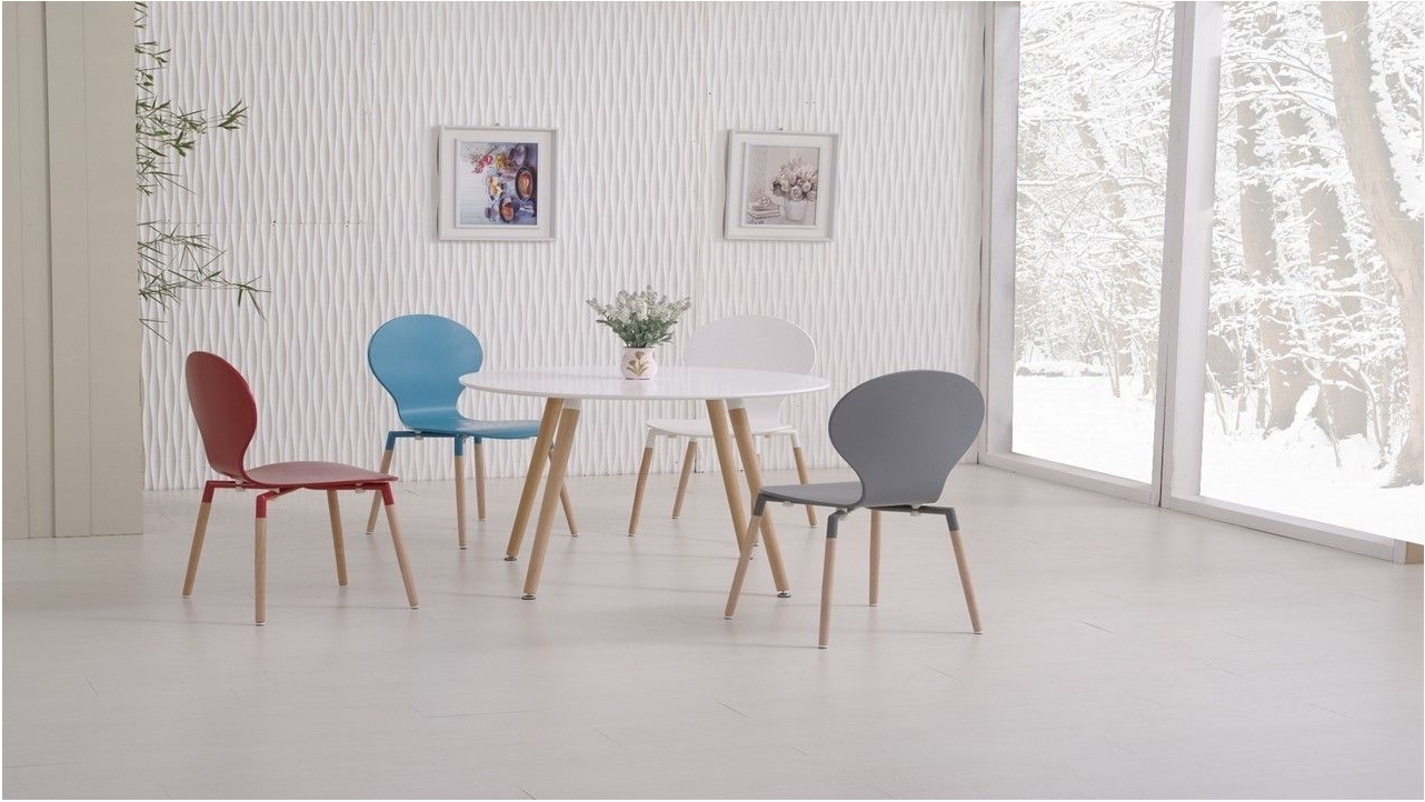 Latest Colourful Dining Tables And Chairs Regarding Astonishing Round Wooden White Dining Table And 4 Mixed Coloured (View 11 of 25)