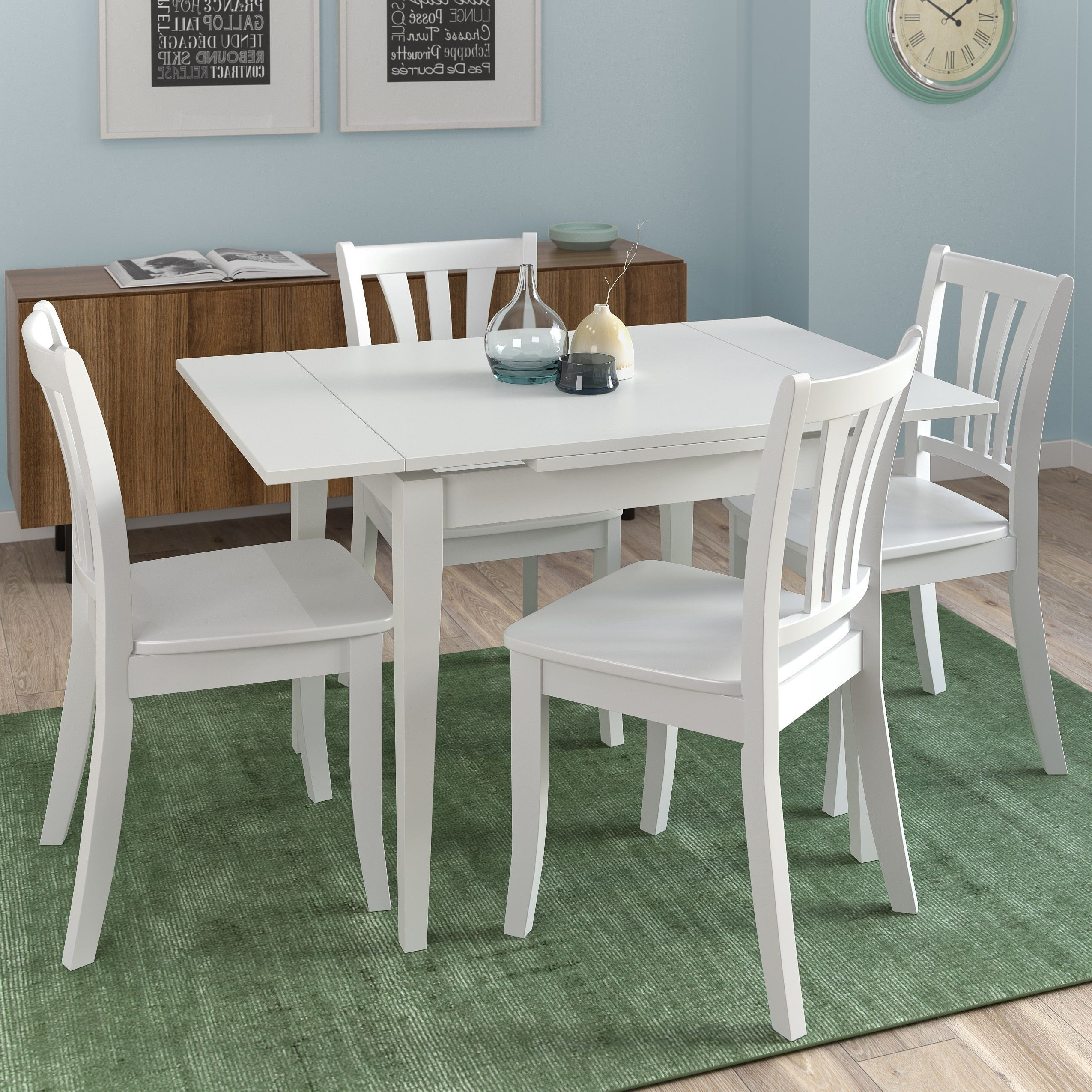 Latest Corliving Dillon White Wooden 5 Piece Extendable Dining Set (White With Regard To Extendable Dining Tables And Chairs (View 25 of 25)
