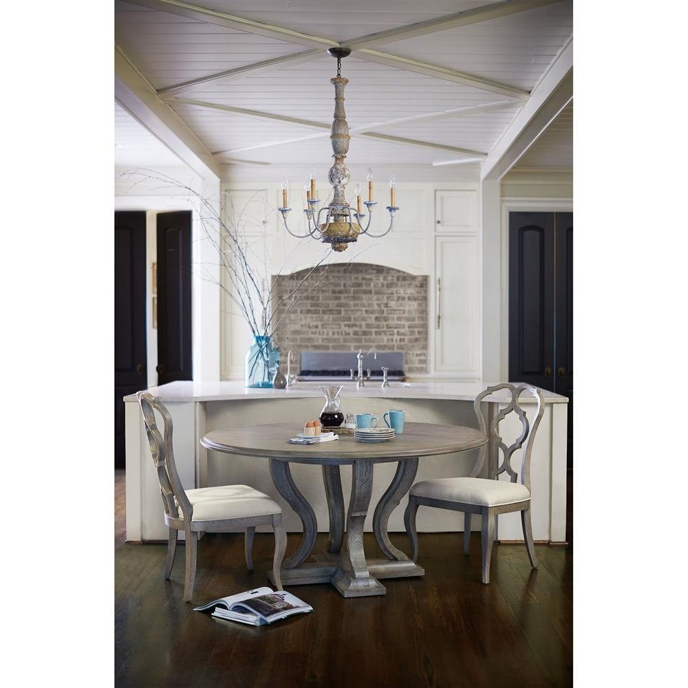 Latest Country Dining Tables Regarding Michaela French Country White Oak Veneer Walnut Round Dining Table (View 14 of 25)