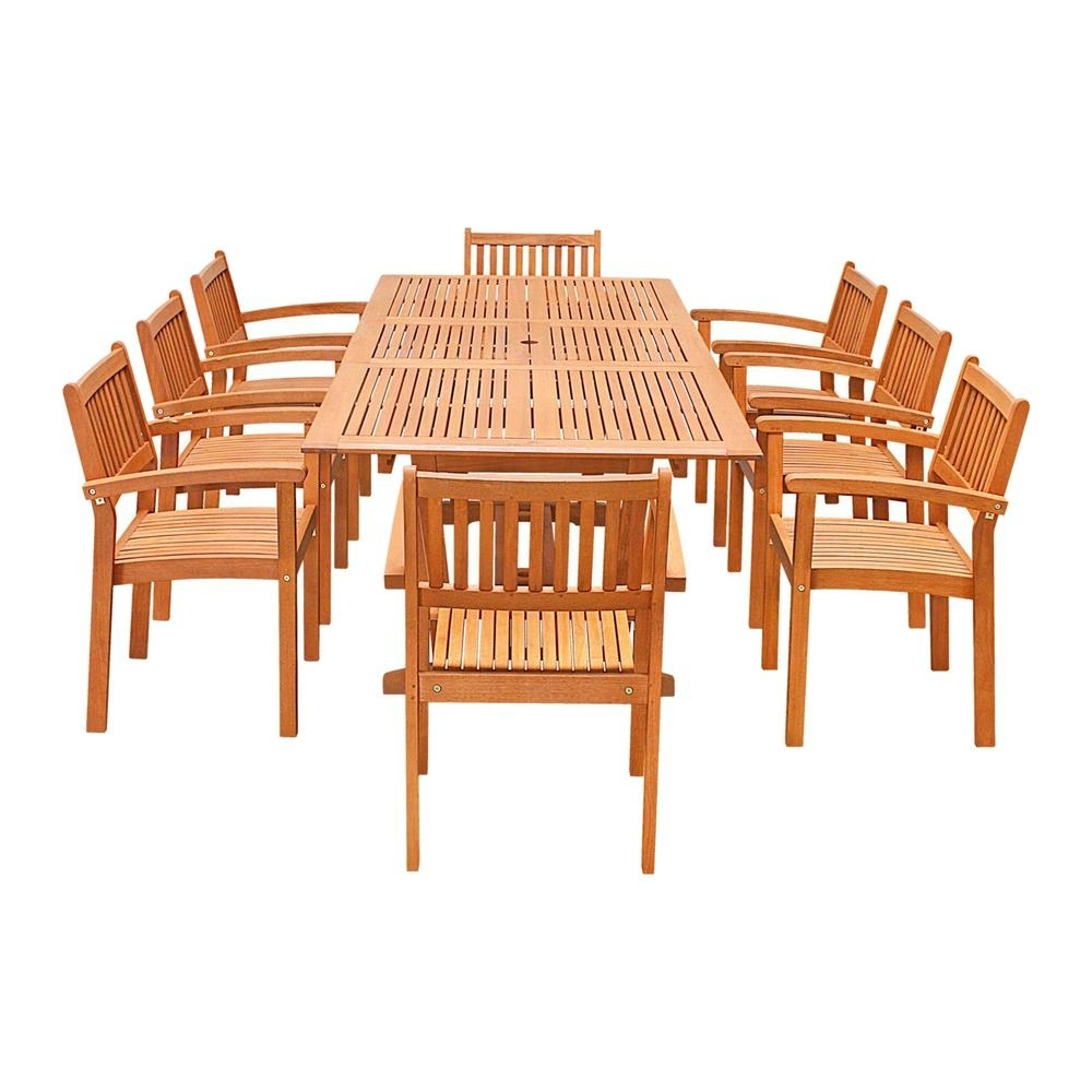 Latest Craftsman 7 Piece Rectangle Extension Dining Sets With Uph Side Chairs Regarding Vifah Eco Friendly 9 Piece Wood Outdoor Dining Set With Rectangular (View 17 of 25)