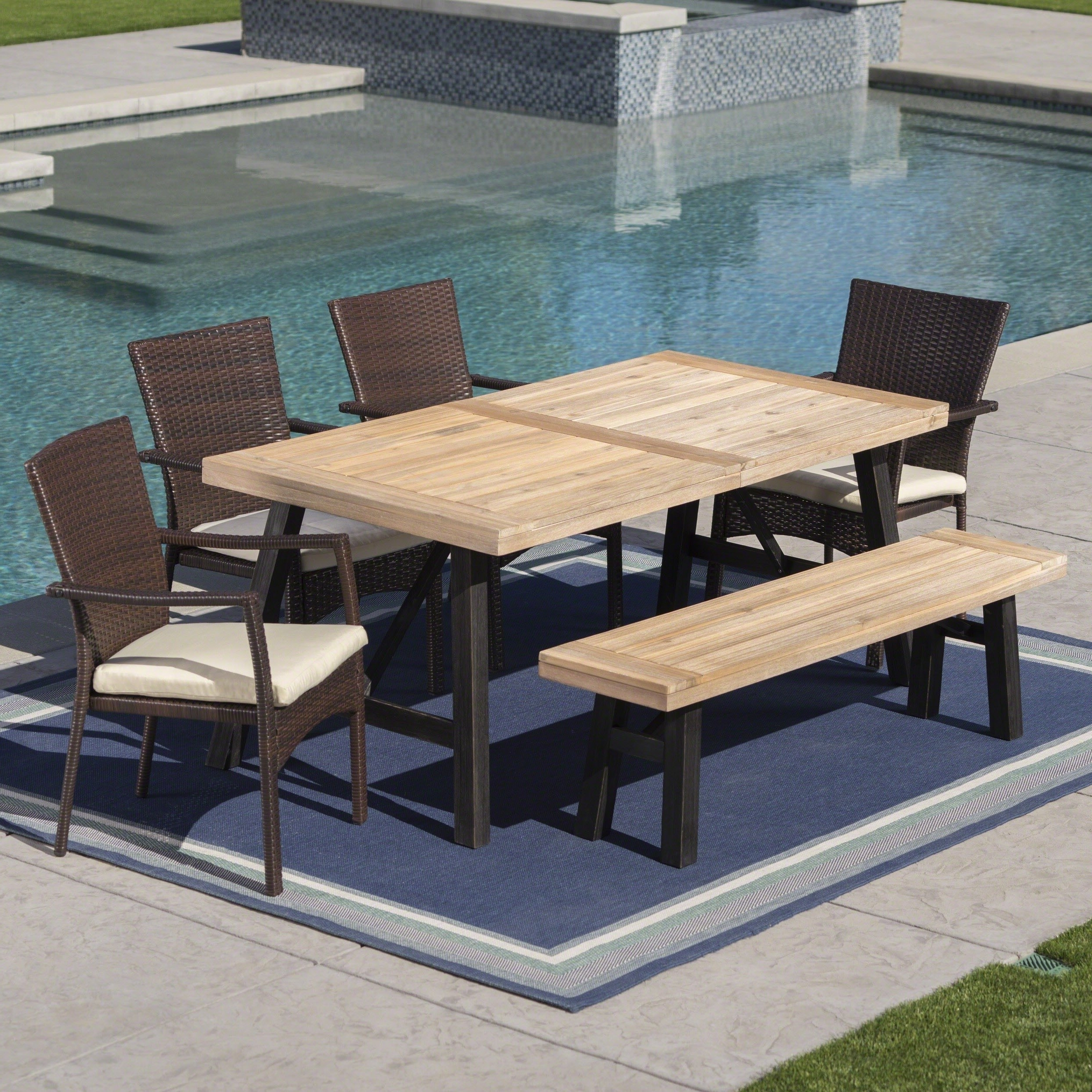 Latest Crawford 6 Piece Rectangle Dining Sets Regarding Shop Horton Outdoor 6 Piece Rectangle Wicker Wood Dining Set With (View 19 of 25)
