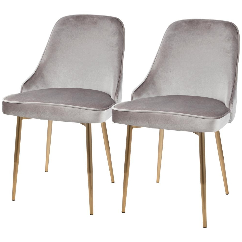 Latest Dining Chairs Intended For Lumisource Gold And Silver Marcel Velvet Dining Chair (Set Of 2) Dc (View 9 of 25)