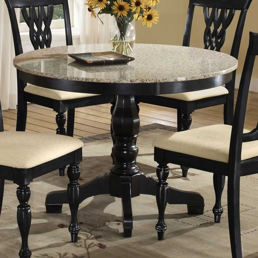 Latest Dining Room, : Dining Room Furniture With Round Shaped Granite Top Regarding Laurent 7 Piece Rectangle Dining Sets With Wood Chairs (View 10 of 25)