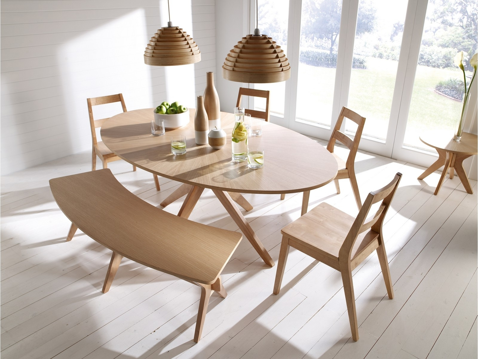 Latest Dining Room Tables And Chairs Throughout Malmo Dining Table Set Chairs Bench Oak Veneer & Solid Wood (View 16 of 25)