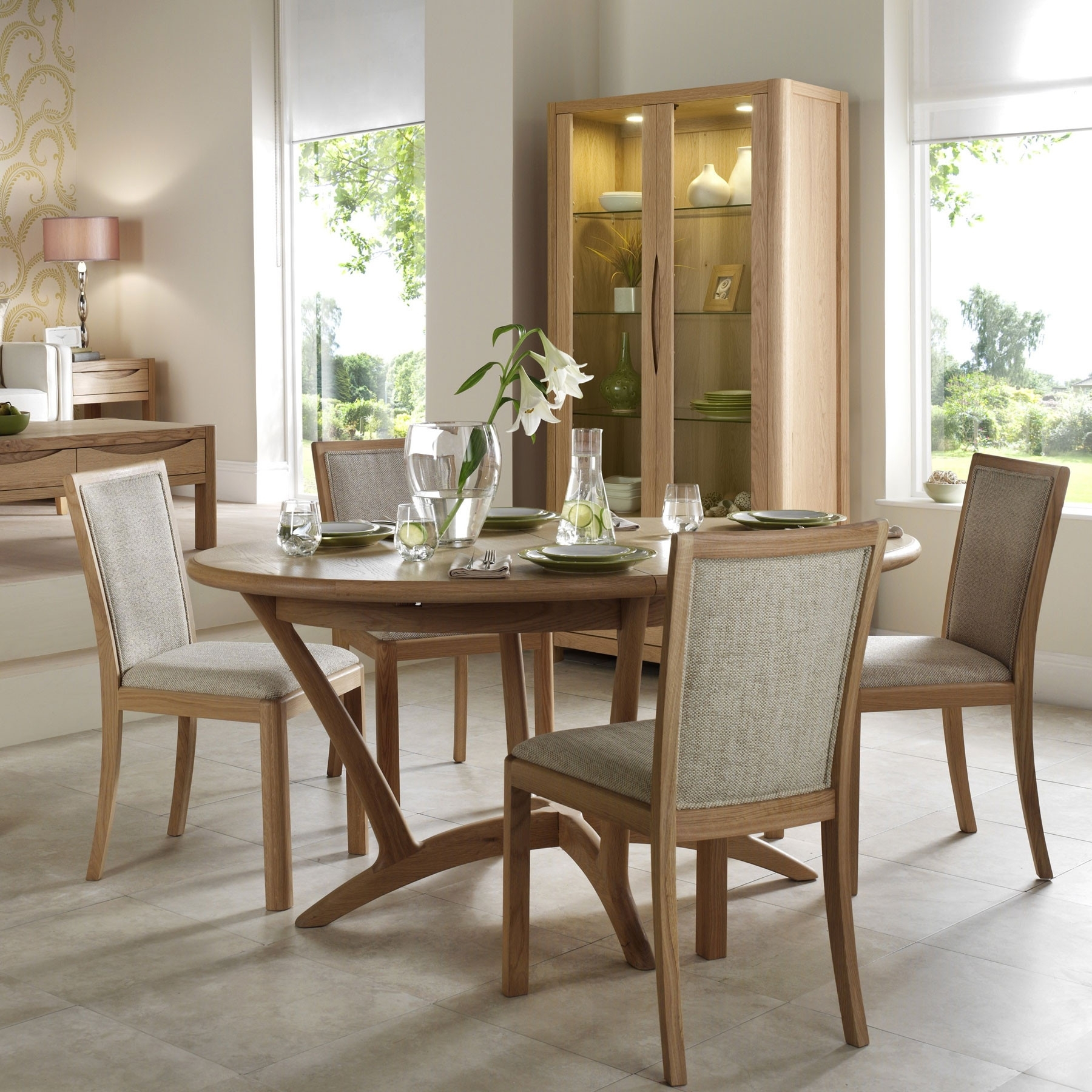 Latest Dining Tables And Fabric Chairs In Oslo Light Oak Oval Extending 210Cm Dining Table & 6 Fabric Chairs (View 13 of 25)