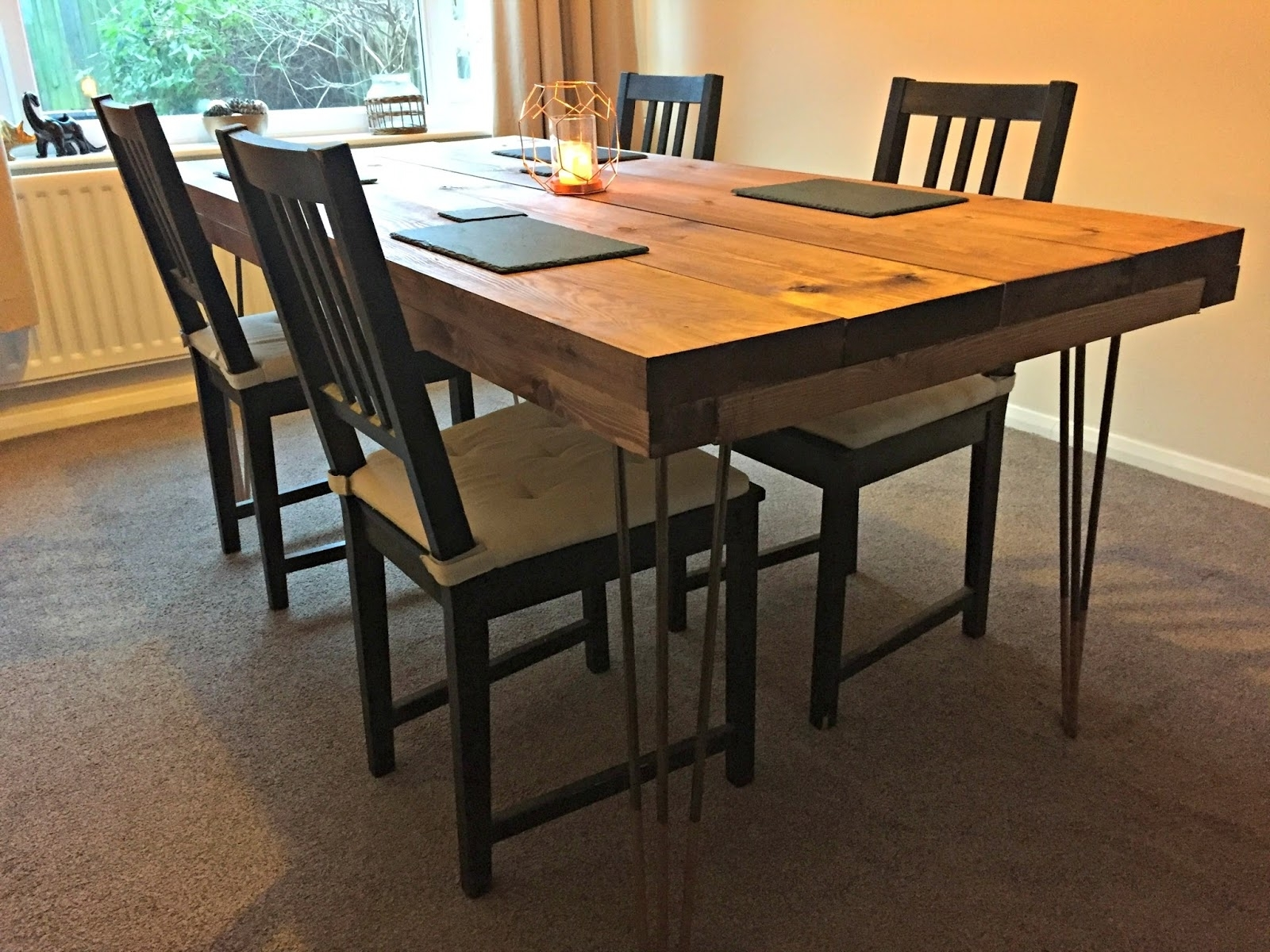 Latest Dining Tables With Large Legs Throughout Diy Tutorial – Rustic Dining Table With Hairpin Legs (View 20 of 25)