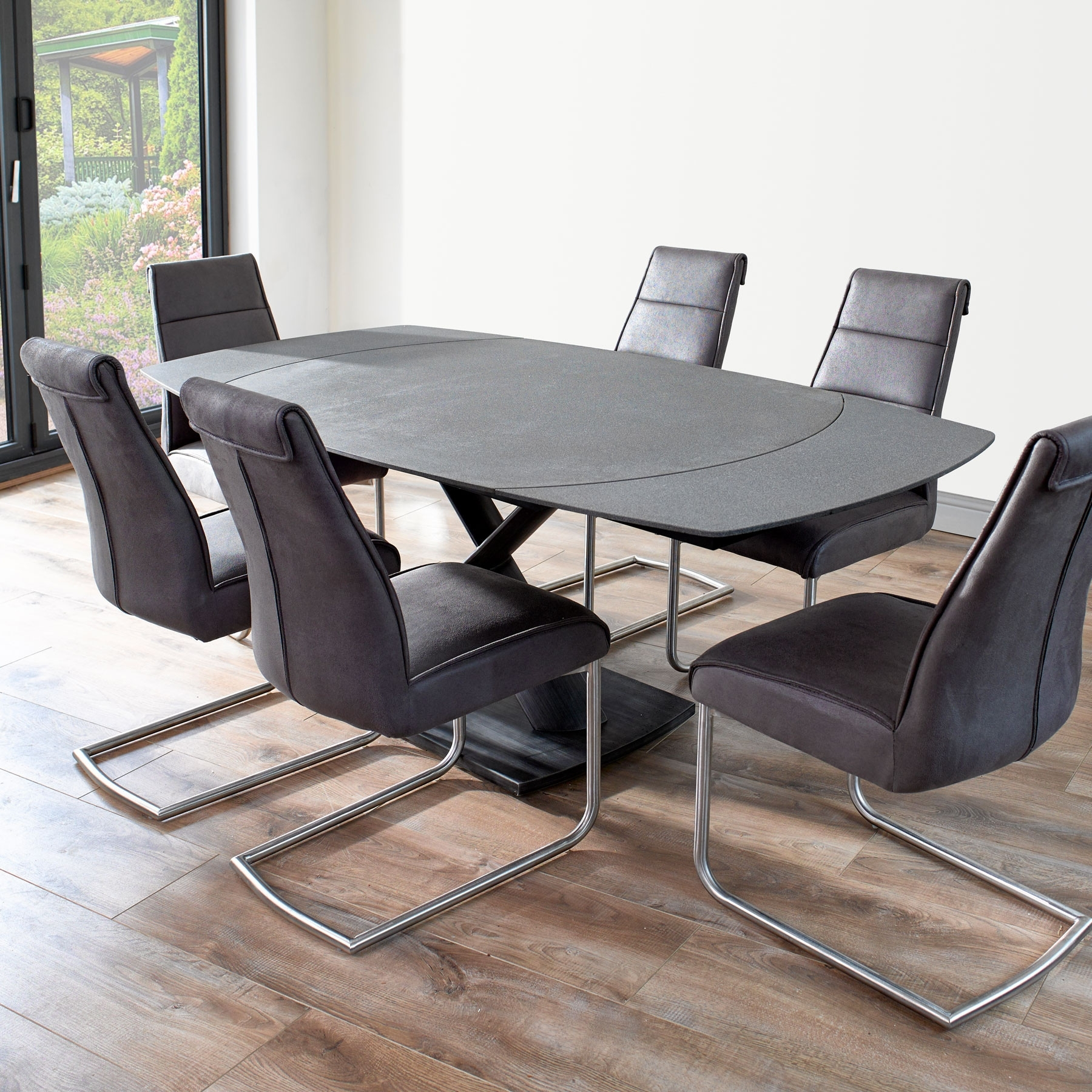 Latest Extending Black Dining Tables Regarding Domasco Revolving Extending Dining Table & 6 Chairs (View 16 of 25)