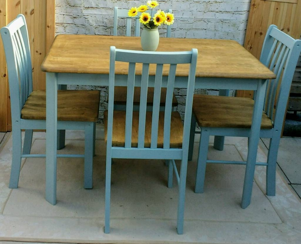 Latest Farmhouse Shabby Chic Kitchen Dining Table And 4 Chairs (View 7 of 25)