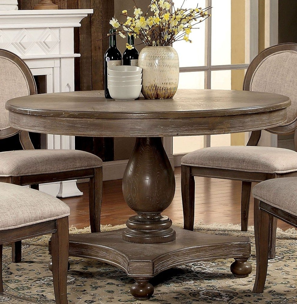 Latest Furniture Of America Siobhan Rustic Dark Oak Round Dining Table With Regard To Dark Round Dining Tables (View 25 of 25)
