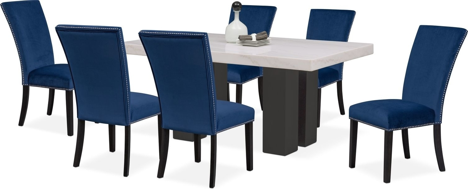 Latest Gavin 6 Piece Dining Sets With Clint Side Chairs Pertaining To Artemis Dining Table And 6 Upholstered Side Chairs – Blue (View 20 of 25)