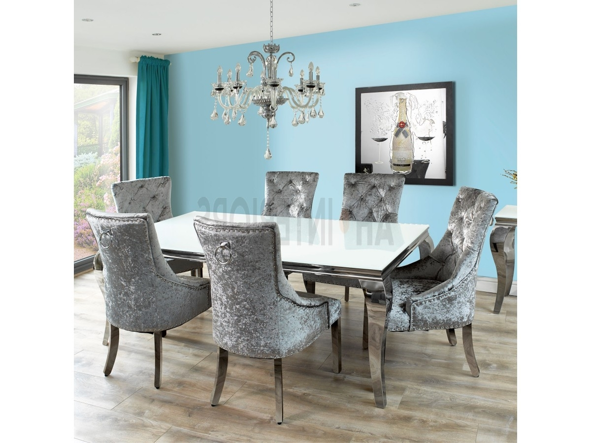 Latest Glass And Chrome Dining Tables And Chairs Within Louis Dining Table With Chairs (View 15 of 25)