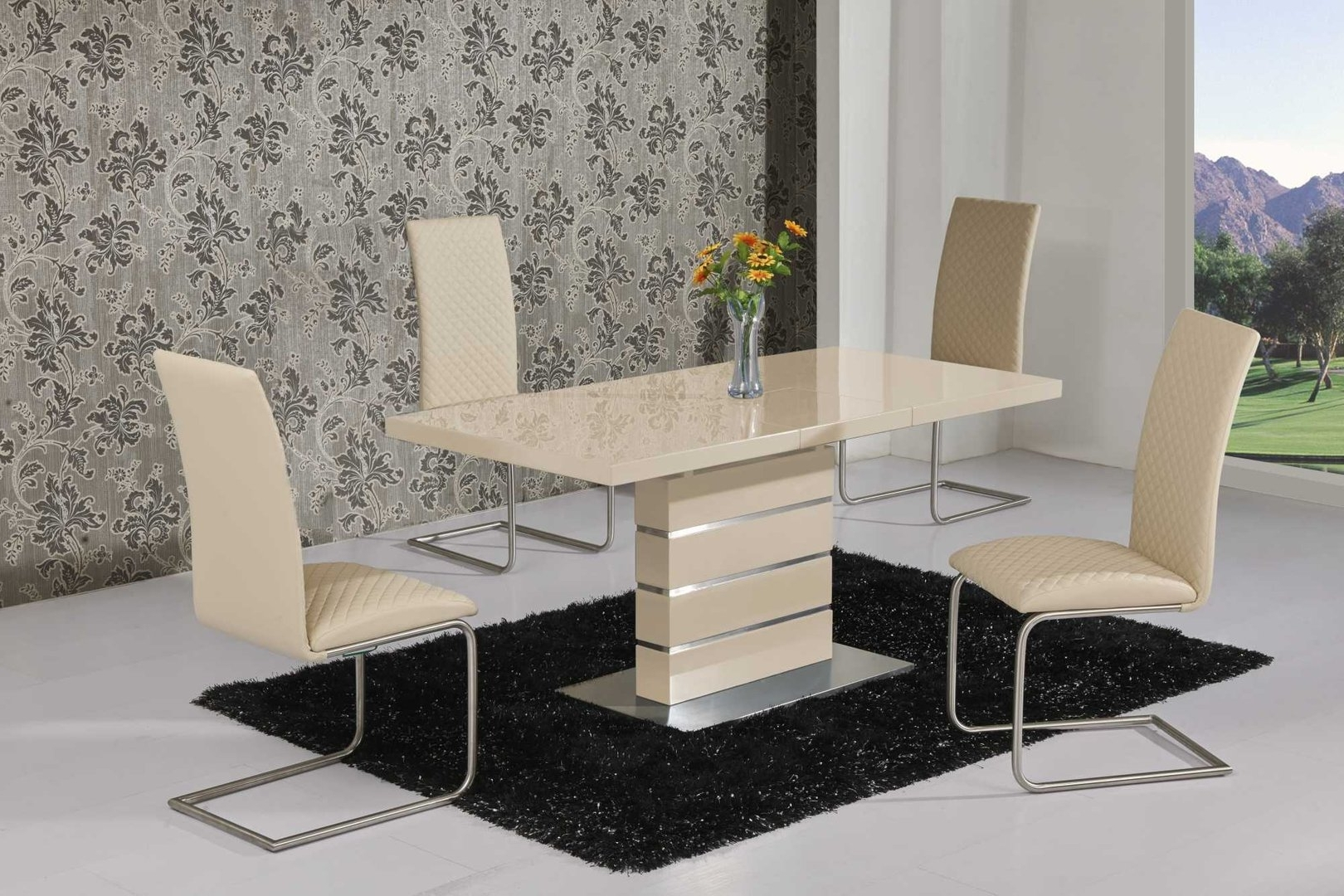Latest Glass Dining Tables And Leather Chairs For Extending Cream High Gloss Dining Table And 6 Cream Chairs (View 12 of 25)