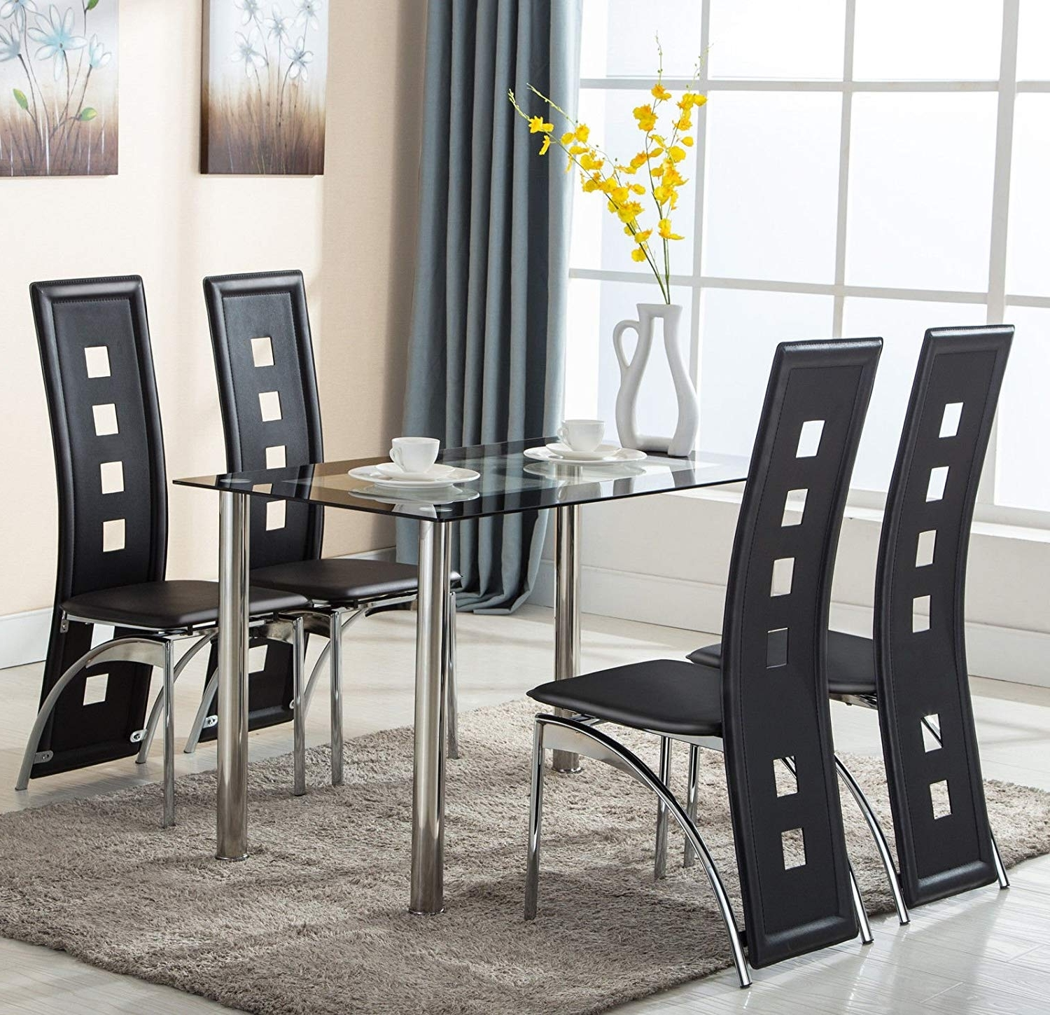 Latest Glass Dining Tables Sets With Regard To Amazon : Eight24Hours 5 Piece Glass Dining Table Set 4 Leather (View 13 of 25)