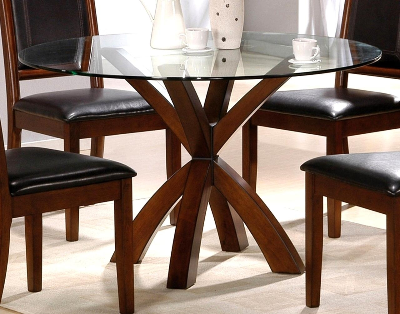 Latest Glass Top Oak Dining Tables Regarding Incredible Oak Base Dining Table Simple Round Glass Top Dining (View 15 of 25)