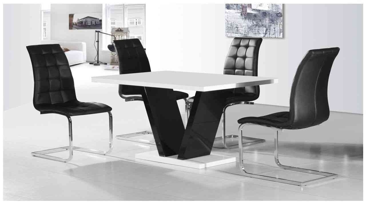 Latest High Gloss White Dining Chairs Throughout Zara White High Gloss Top Small Dining Table And 4 Enzo Black (View 14 of 25)