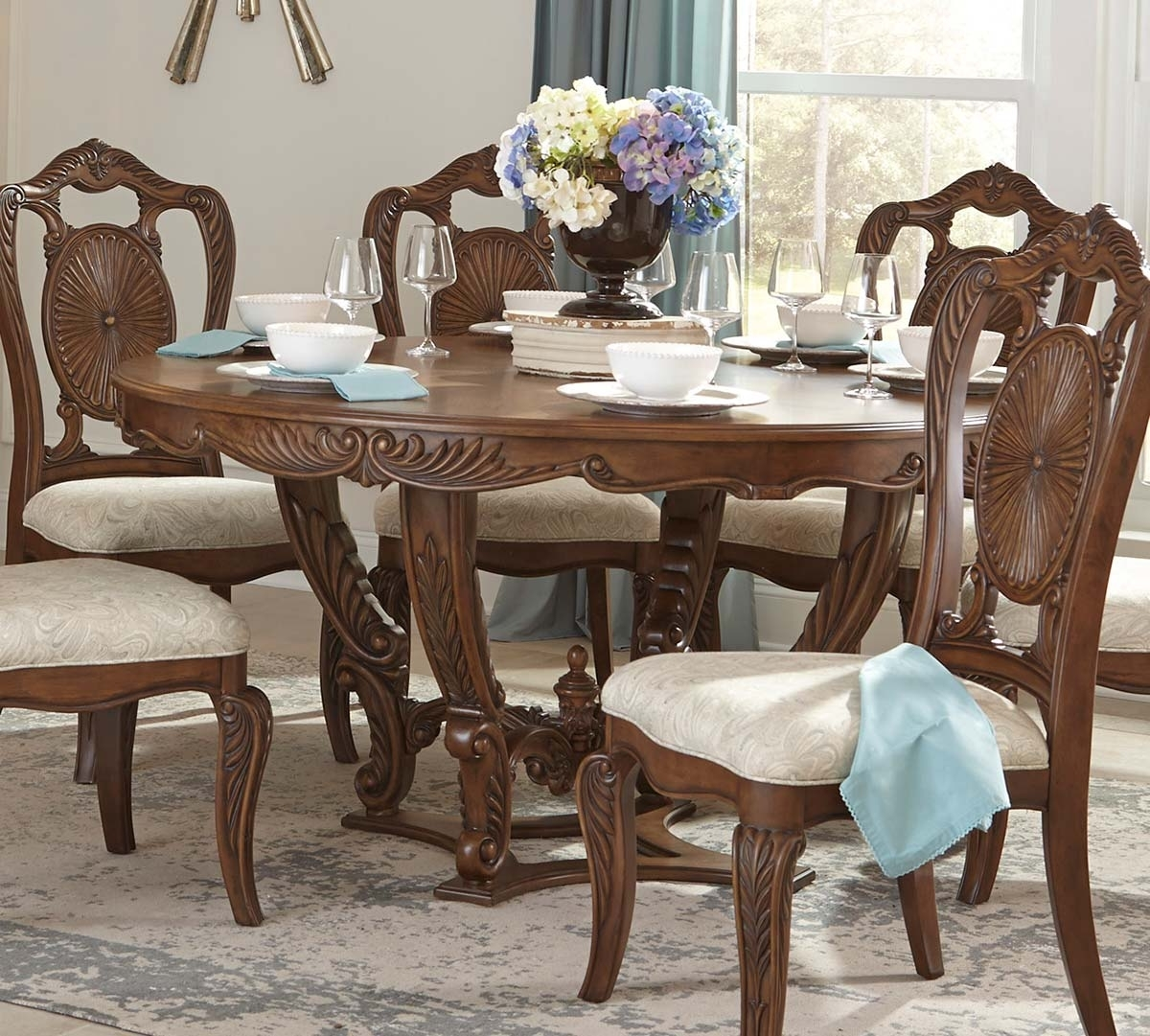 Latest Homelegance Moorewood Park Round Dining Table With Leaf – Pecan 1704 Pertaining To Bale Rustic Grey Dining Tables (View 15 of 25)