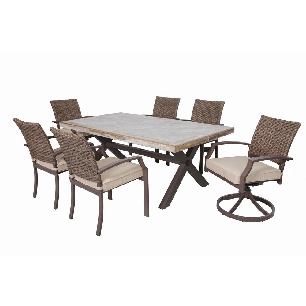 Latest Honeycomb Hudson 7 Piece Aluminum Outdoor Dining Set With Tan Intended For Hudson Dining Tables And Chairs (View 10 of 25)