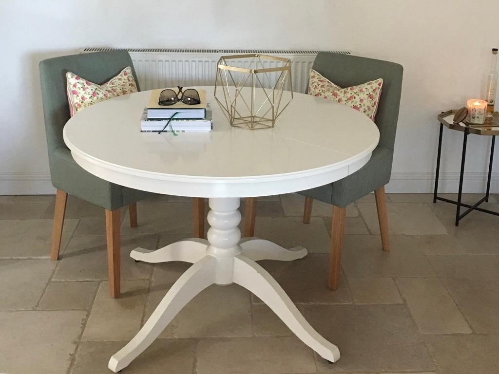 Latest Ikea Ingatorp White Round Extendable Dining Table (View 3 of 25)