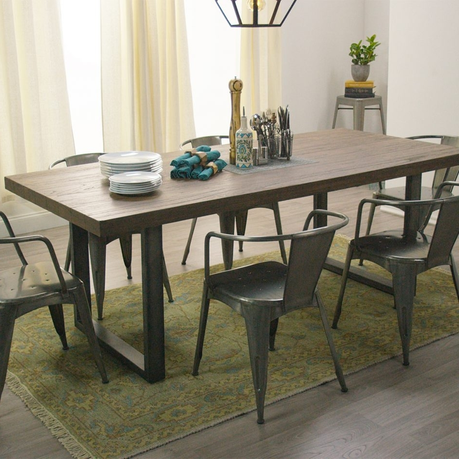 Latest Iron And Wood Dining Tables Inside Furniture Retro Live Walnut Dining Table Metal Base Home Black (View 9 of 25)