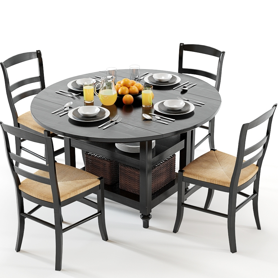 Latest Isabella Dining Tables Inside Pottery Barn / Shayne Table & Isabella Chairs Black – (View 18 of 25)