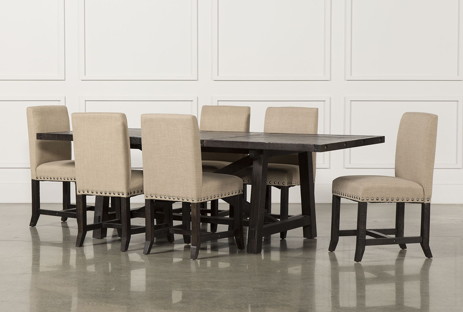 Latest Jaxon 7 Piece Rectangle Dining Set W/upholstered Chairs (View 13 of 25)