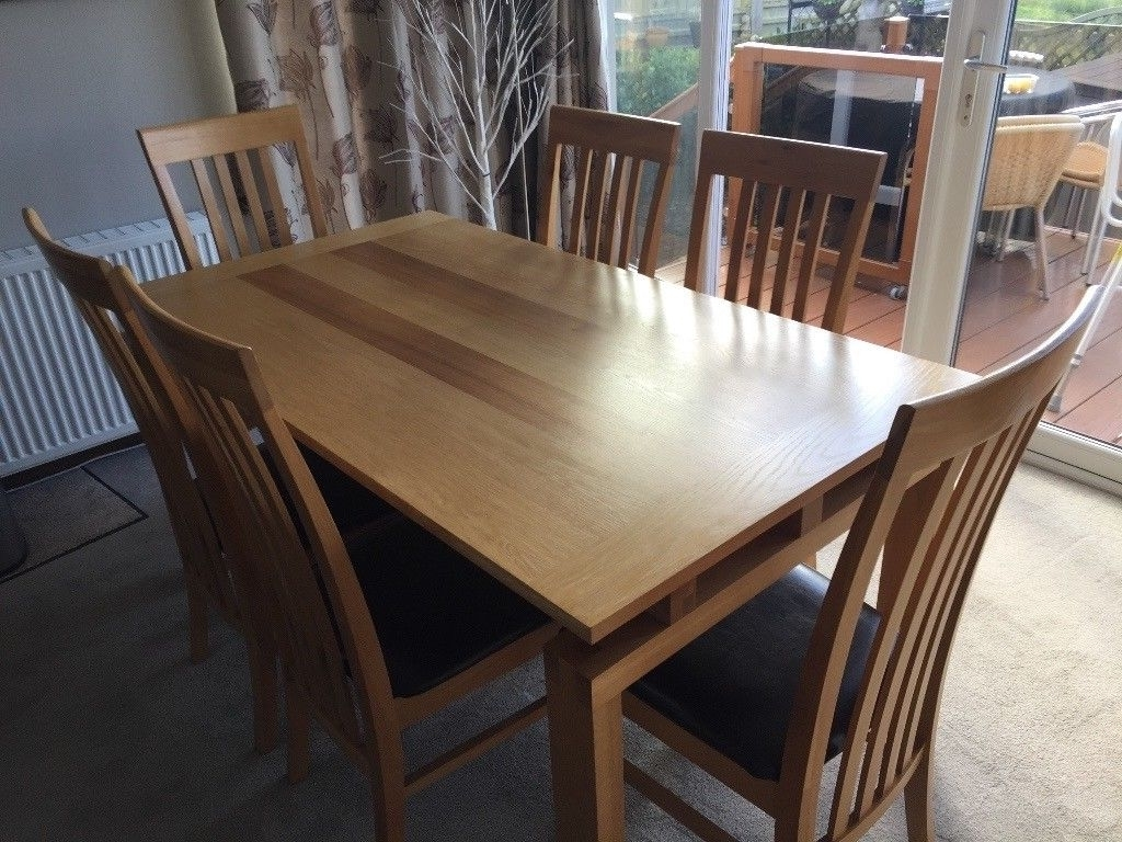 Latest Light Oak Dining Tables And 6 Chairs In Light Oak Venire Dining Table & 6 Chairs (View 12 of 25)